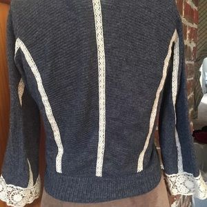 Anthropologie Sweaters - Anthropologie Guinevere cardigan Small Gray lace